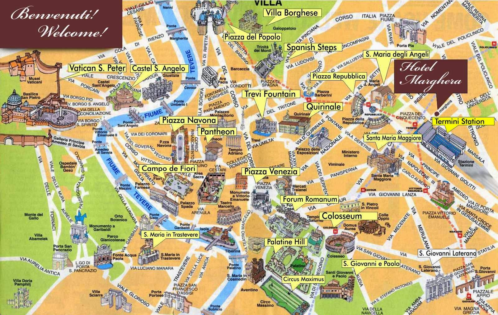 Rome downtown map - Map of downtown Rome Italy (Lazio - Italy) on