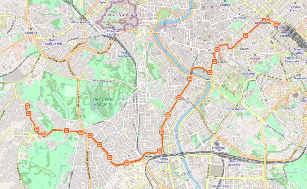 Rome h bus route map - Map of Rome h bus route (Lazio - Italy)