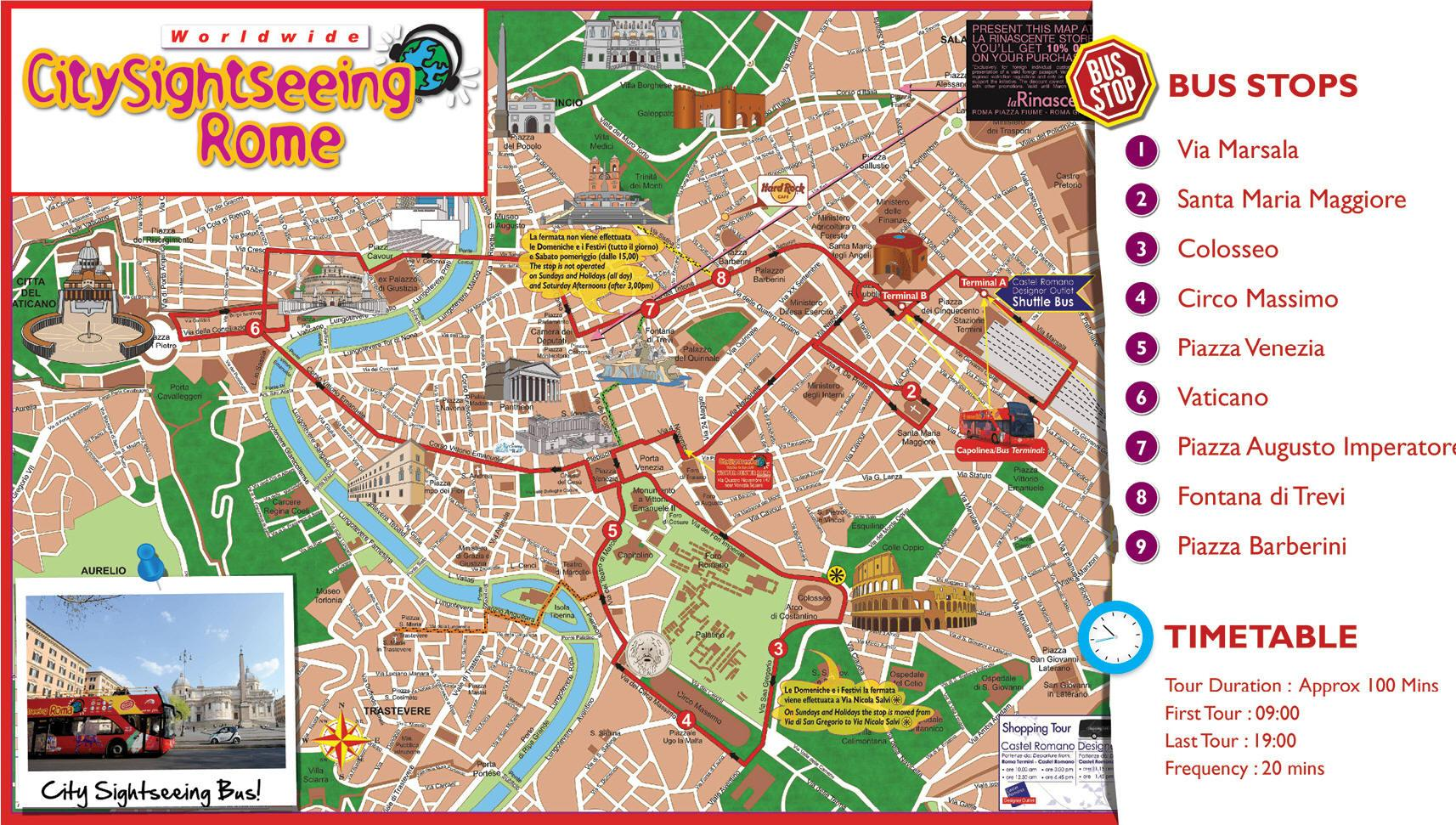 Rome Hop On Off Bus Route Map on