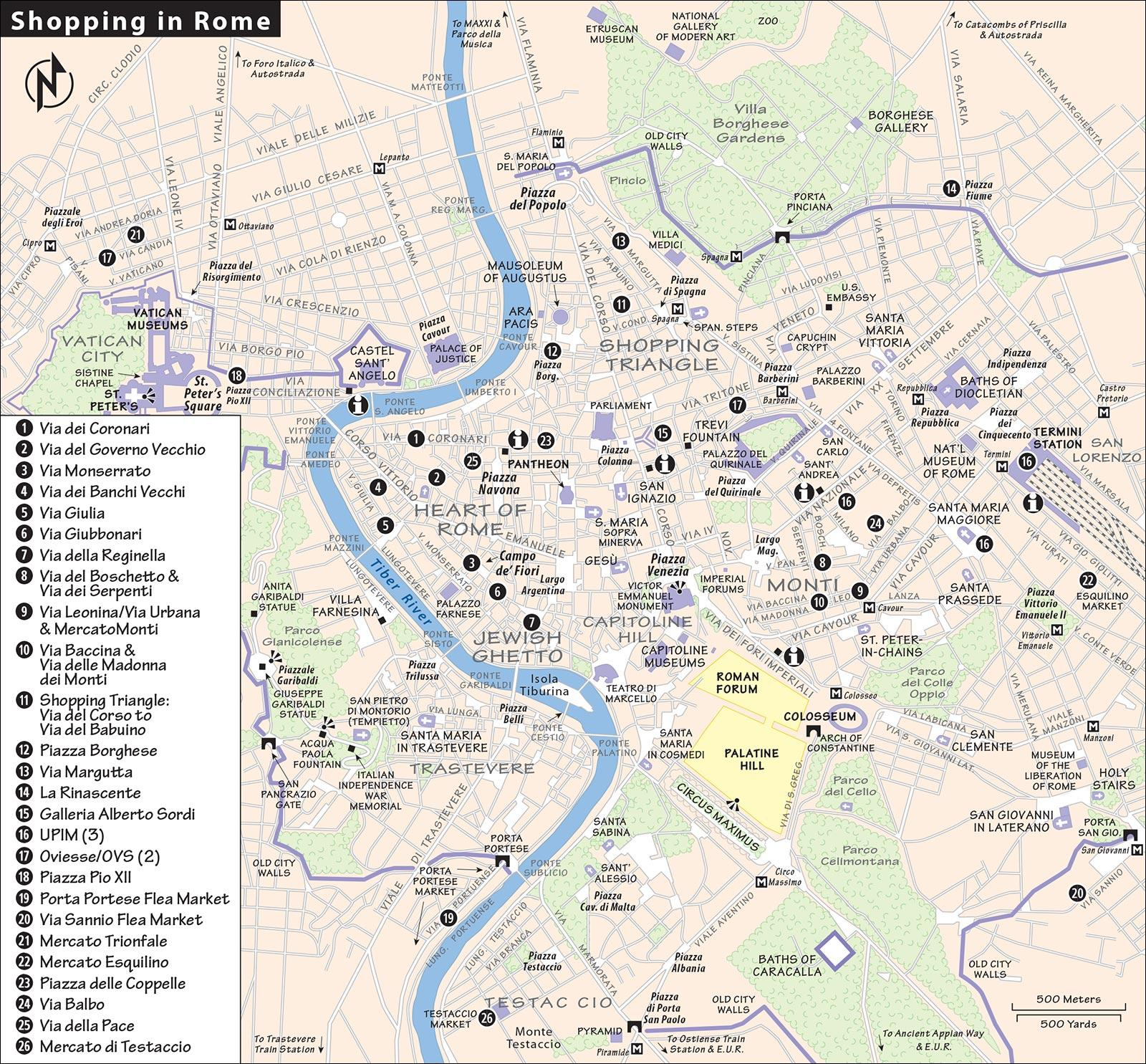 Rome shopping map - Map of Rome shopping (Lazio - Italy)
