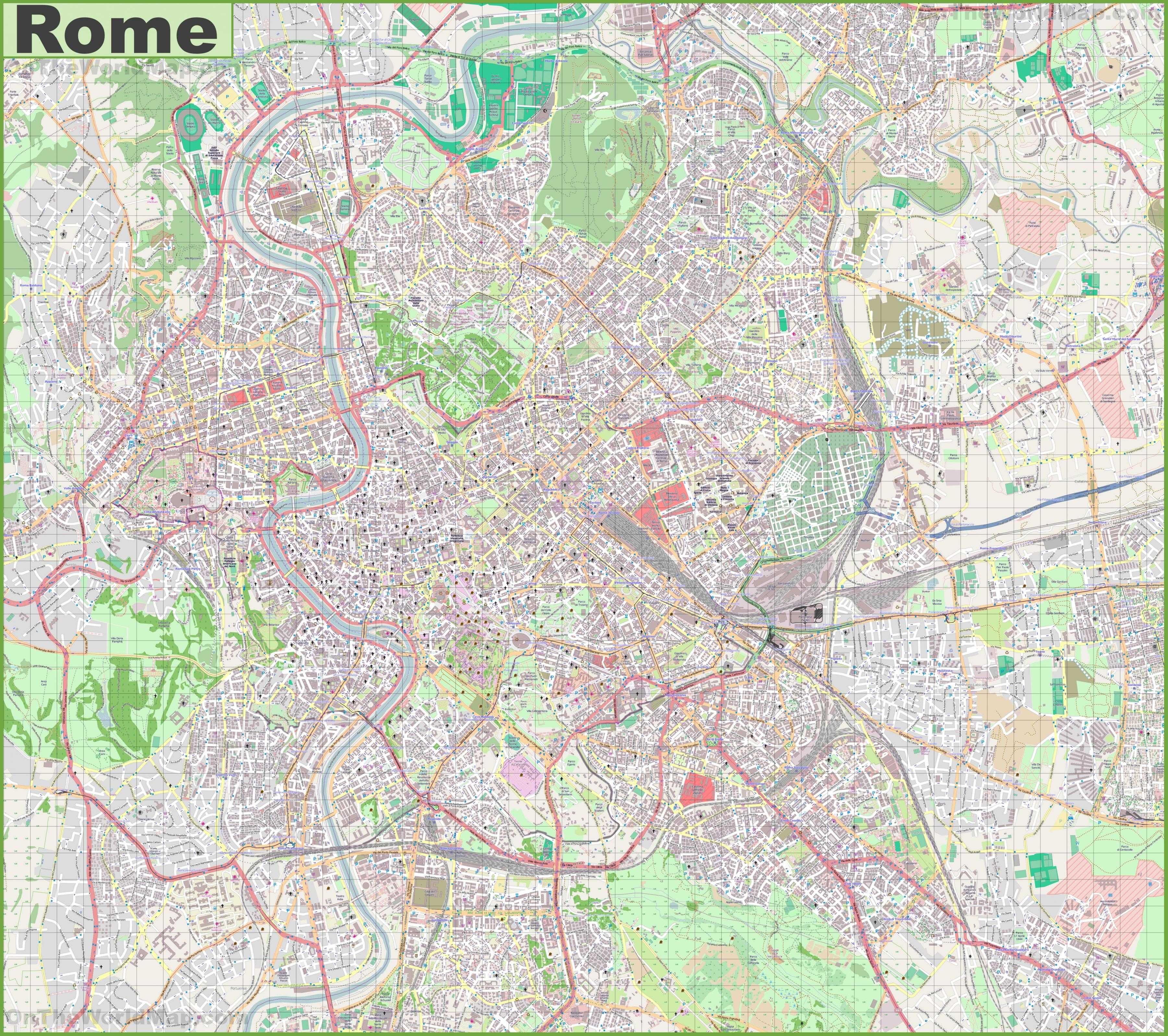 Street Map Of Rome Street Map Of Central Rome Lazio Italy