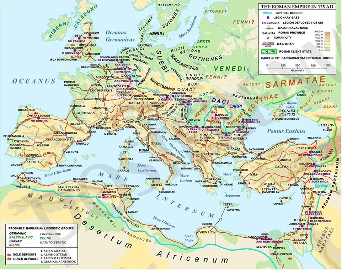Map of detailed ancient Rome