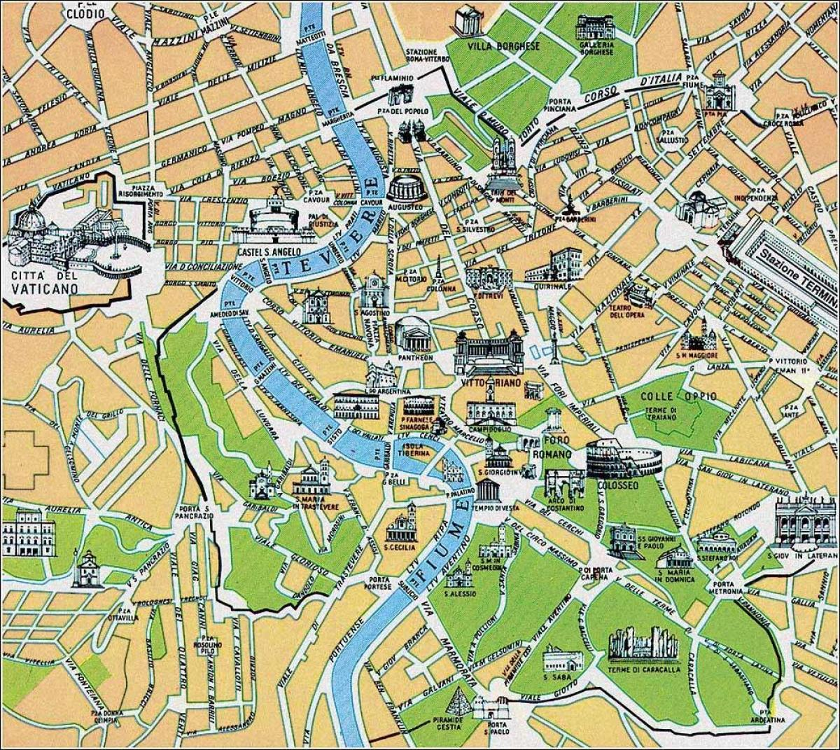 Map of map Rome Italy sites