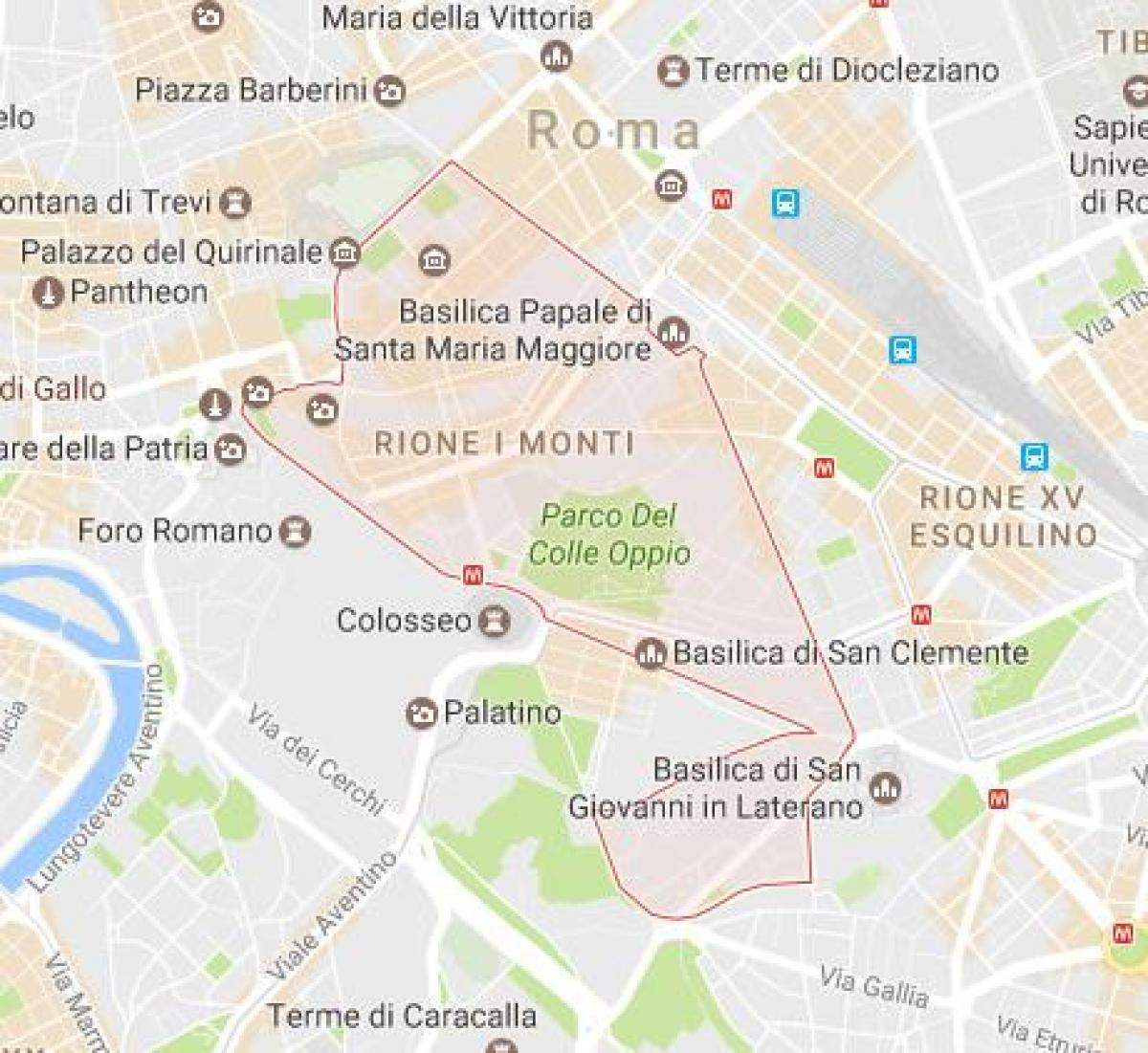 Map of monti Rome