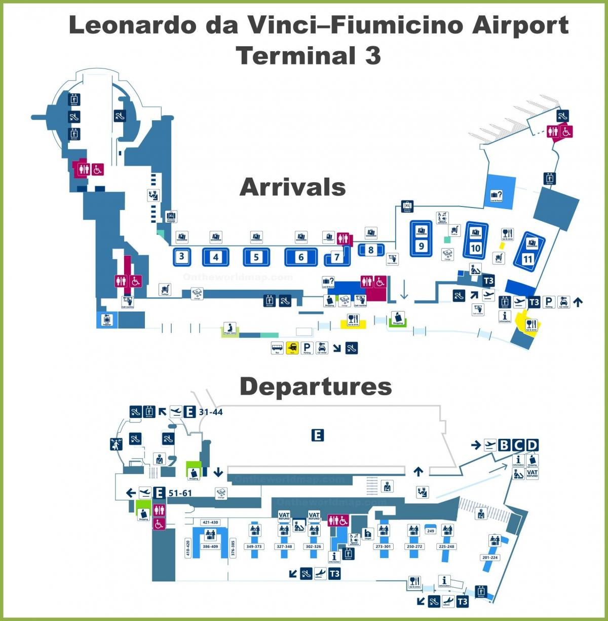 fco airport map terminal 3