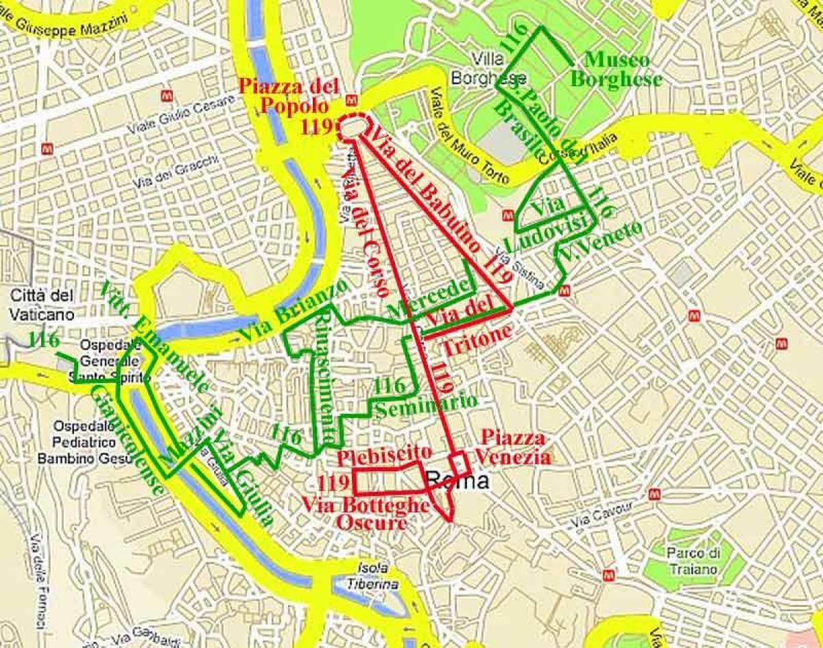 Map of Rome bus 70 route