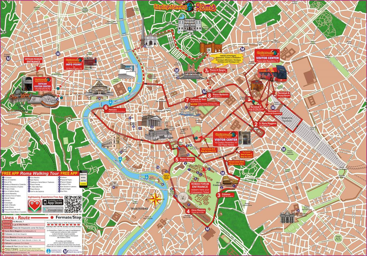 Rome hop on hop off bus tour map