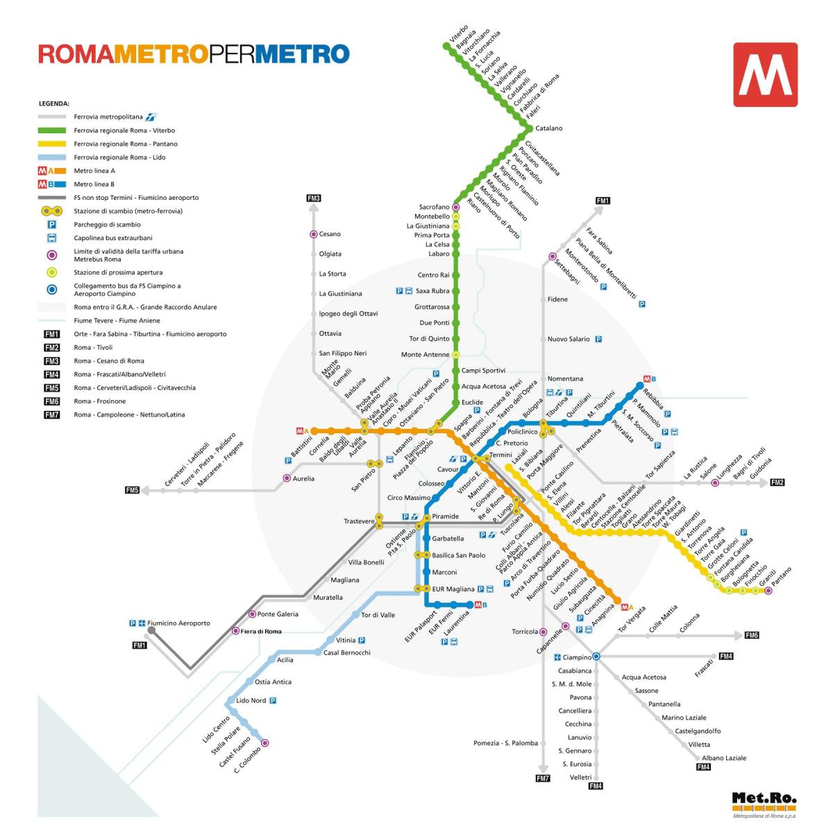 Map of Rome metro station