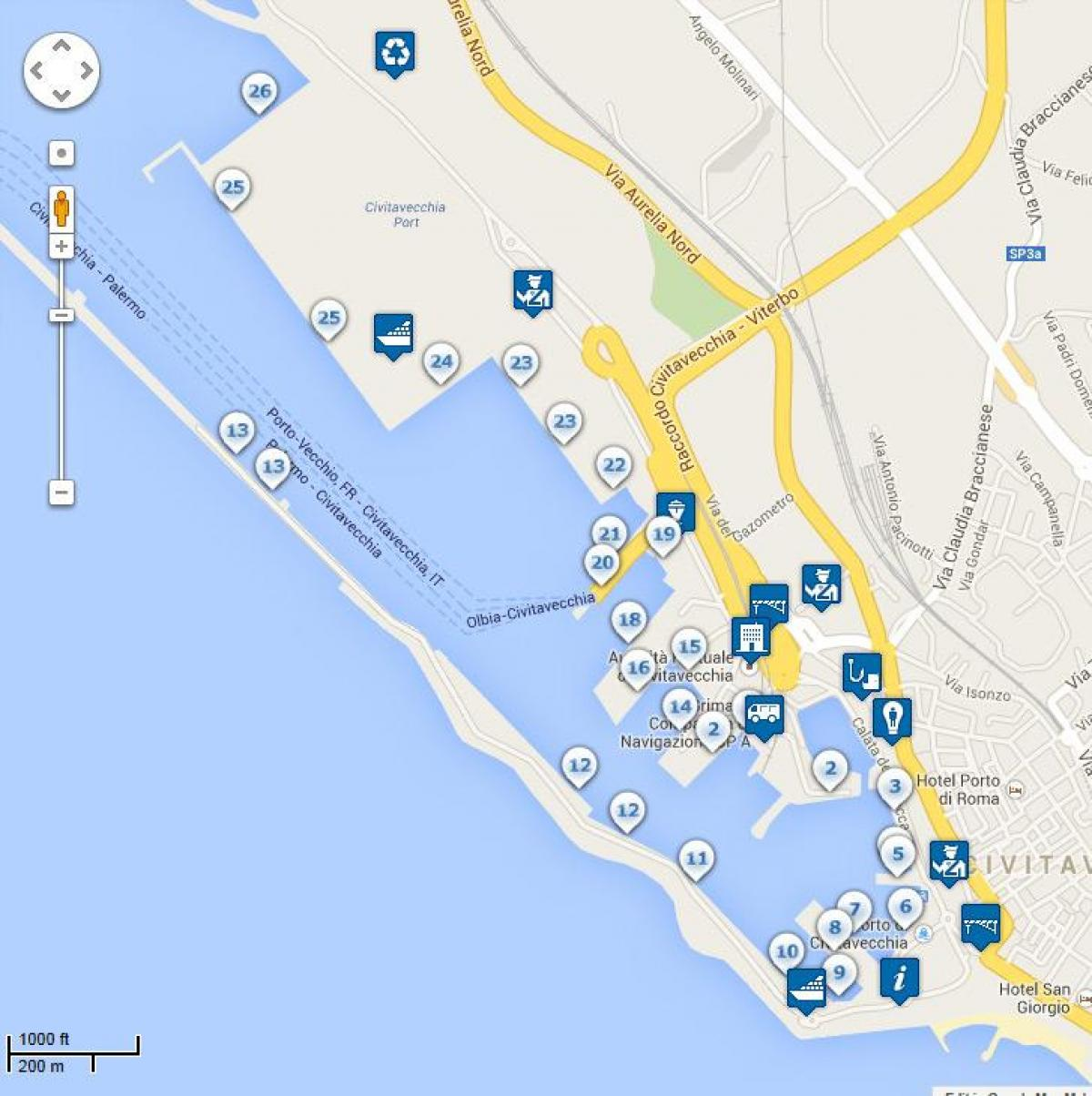 Map of Rome port