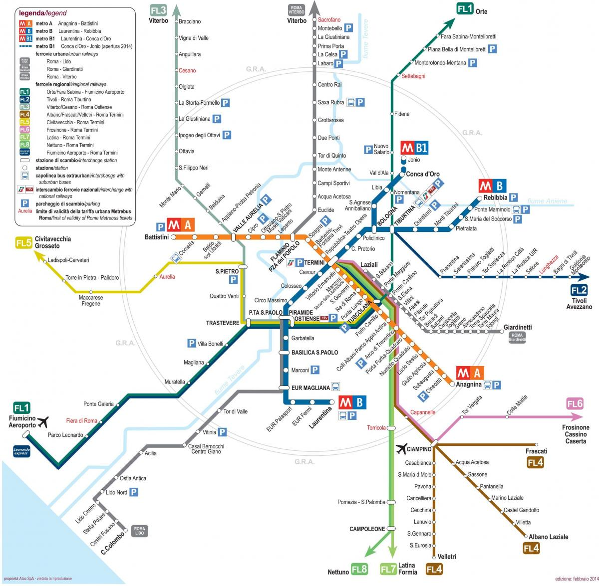 Map of Rome rail