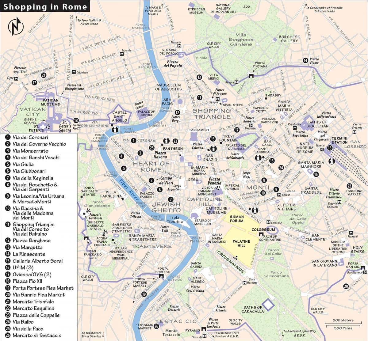 Map of Rome shopping