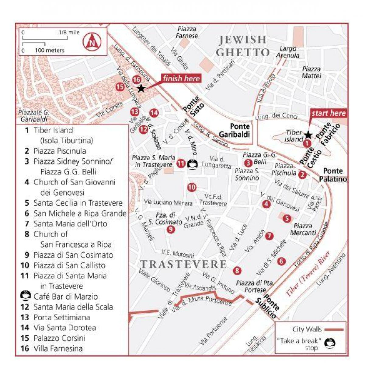 trastevere neighborhood Rome map