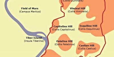Map of hills Rome
