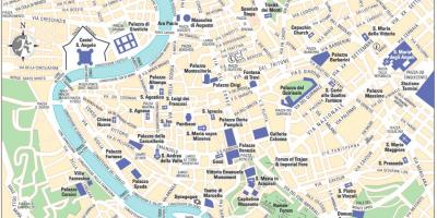 Map of central Rome Italy