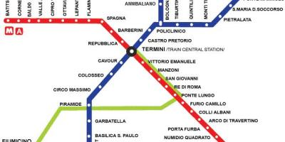 Rome tourist map with metro stops