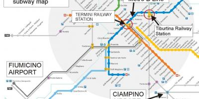 Map of Rome airport and train station