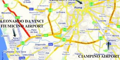 Map of Rome showing airports