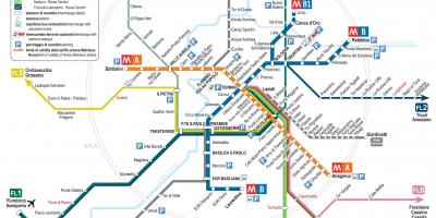 Tourist map of Rome with metro stops