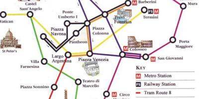 Rome metro map with tourist attractions