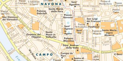 Map of Rome piazzas