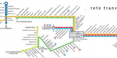 Map of trams in Rome Italy